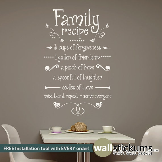 Free Shipping Family Is Vinyl Wall Lettering Quote Wall: Family Recipe Wall Decal Vinyl Wall Art Decal Quote Kitchen