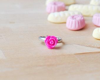 Hot Pink Rose Ring | Bright Pink Flower Ring | Adjustable