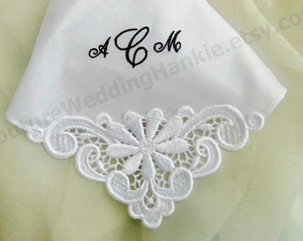 Embroidered Handkerchief for Bride, Mother of Bride Gift, Groom, Bridesmaids Gifts