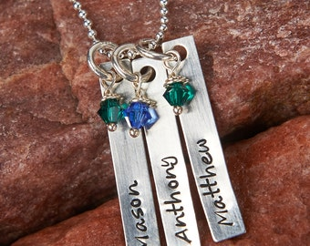 3 Personalized Rectangles Mother's Necklace: Sterling silver Handstamped with birthstone Swarovski crystals (or family/grandma necklace)