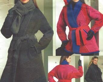 Koos Van Den Akker Womens Reversible Coat, Scarf, Belt & Beret Hat OOP Vogue Sewing Pattern V1070 Size 4 6 8 10 12 14 Bust 29 1/2 to 36 FF