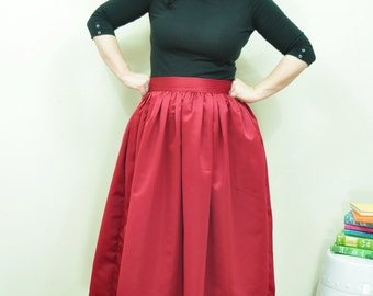 Burgundy Midi Skirt Full gathered Duchess Satin skirt Custom made