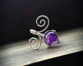 Purple Dragon Vein Dyed Agate Crystal Wire Wrapped Adjustable Ring