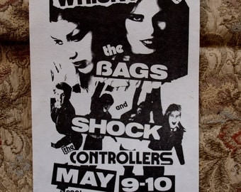 Bags Controllers Shock Punk Flyer Whiskey A Go Go 1978 Live Gig Advertisement Rock and Roll New Wave Sunset Strip