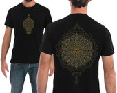 Men's T shirt Mandala Sacred Geometry Screen Printed Burning Man Clothing Shirt Available in Small, Medium, Large, Extra large
