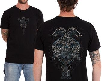 Black Tshirt, Mens tshirt, screenprinted psychedelic shirt,  Psy clothing, SOL,  Black, Brown, Gray,  Sizes:S / M / L / Xl
