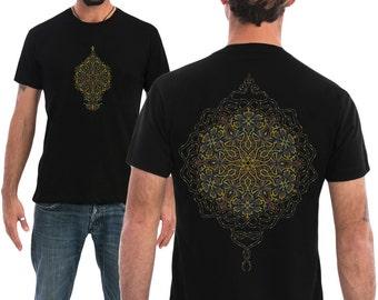Men's T shirt Mandala Sacred Geometry Screen Printed Burning Man Clothing Shirt Available in Small, Medium, Large, Extra large