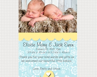 Twin Babies Announcement Printable Personalized