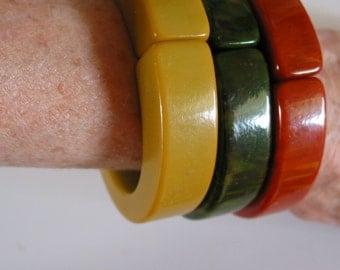 Set of three 3 vintage hinged bakelite bangle bracelet cuff