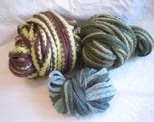Destash Lot Green Striped knitting yarn frilly ruffle partial skeins acrylic scarf yarn crafts