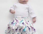 Giraffe Skirt Baby Girl- Organic Cotton - Baby Knit Skirt Purple and Teal giraffes Foldover Waist 0 3 6 9 12 months yoga skirt organic