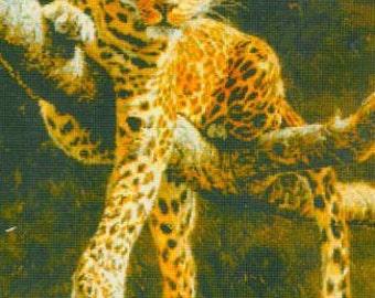 Cross Stitch Kit Hypnotic 14 x 20 inches, Tiger Cross Stitch, Cheetah, Wild Animals, Cat Cross Stitch, Kustom Krafts