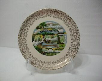 Niagara Falls NY Vintage Transferware Travel Plate - Tourist Souvenir Transferware Plate