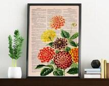 Dhalias bouquet n02 printed on  Dictionary Page wall art home decor, wall hanging , flower wall art, Dhalias wall decor BPBB081
