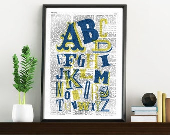Spring Sale ABC typography alphabet book print - Typography collage Printed on vintage dictionary book page BPTQ020