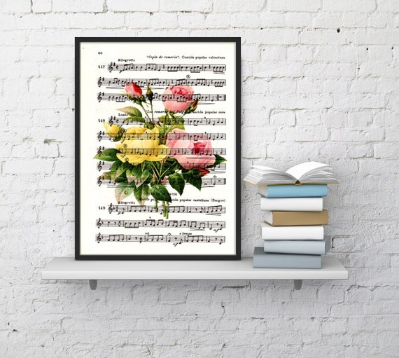 Summer Sale Roses bouquet over music sheet, Wall art print, Home decor art print, Vintage roses bouquet BFL044MS