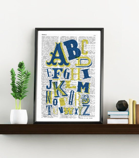ABC typography alphabet book print - Typography collage Printed on vintage dictionary book page BPTQ020
