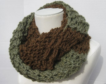 Wool Outlander cowl brown green hand knitted