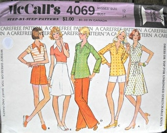 McCall's 4069 Dress, Top, Skirt, and Pants Pattern, Size 12,  Factory Folded Uncut, Vintage 1974
