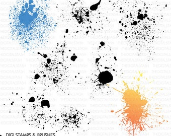 Paint Splatters 2 - Splashes Clip Art - 7 Digital Stamps/Brushes - INSTANT DOWNLOAD - for Cards, Scrapbooking, Collage, Invites, Crafts, etc