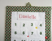 READY TO SHIP / Personalized Christmas Advent Calendar  in Santa Snowman Fabric/ Christmas Countdown Calendar with Pockets