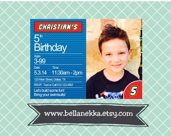 Custom Personalized Printable Lego Party Birthday Invitation - DIY - colors can be customized for a girl or boy