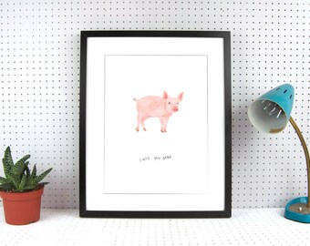 Pig A4 Art Print - I got you babe - beautifully illustrated gifts - eco friendly stationery - blank inside illustration - made in the UK