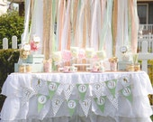 Peter Pan birthday BANNER Dressy Birthday Party  PRINTABLE  neverland polka dot gold green DIY  Instant Download tinkerbell