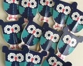 60 Owl Cupcake Toppers  5 dozen Set Picks Blue Aqua Owls Party Pick appetizer toothpick paper supply baby shower cupcakes topper wrapper