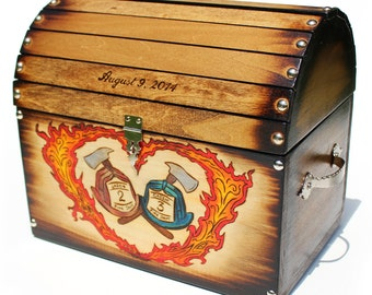 Firefighter Helmet Design: Wedding Card Rustic Chest Box CUSTOM