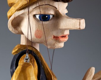 Beautiful Hand Carved Pinocchio Marionette Puppet - Large