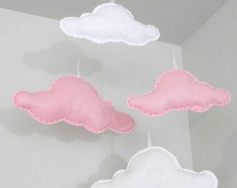 Floating Felt Clouds - Set of 4 Different Size Pink White Felt Clouds