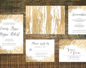 Printable Gold Foil Wedding Invitation Suite   Wedding Invitation Set, Gold Wedding Invitation, Gold Wedding, Wedding Invites