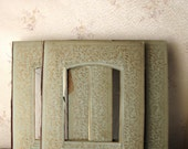 Antique album pages - green photo frame boards with opulent gold trim - vintage assemblage supply