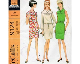 1960s Shift Dress with Yoke Pattern McCall's 9124 Mod Vintage Sewing Pattern Bust 32 Junior Teens Petites Easy to Sew