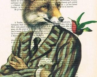 Fox Digital Print Illustration Acrylic Painting Animal Painting  Decor Wall hanging Wall Art  painting