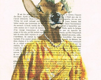 Lady Deer in sixties clothes, Print Illustration Acrylic Painting Animal Painting Deer Picture Wall Art deer illustration painting vintage