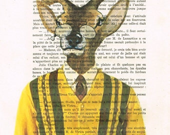 Mister Deer in sixties clothes, Print Illustration Acrylic Painting Animal Painting Deer Picture Wall Art deer illustration painting vintage