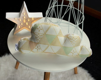 Cloud pillow.Cloud shaped cushion.pink mint gold.Soft minky back.Nursery decor.Cloud baby nursery decor.Geometric baby gift.cloud pillow