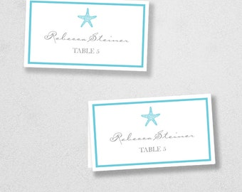 Printable Place Card Template - INSTANT DOWNLOAD - Escort Card - For Word and Pages - Mac and PC - Flat or Folded - Starfish