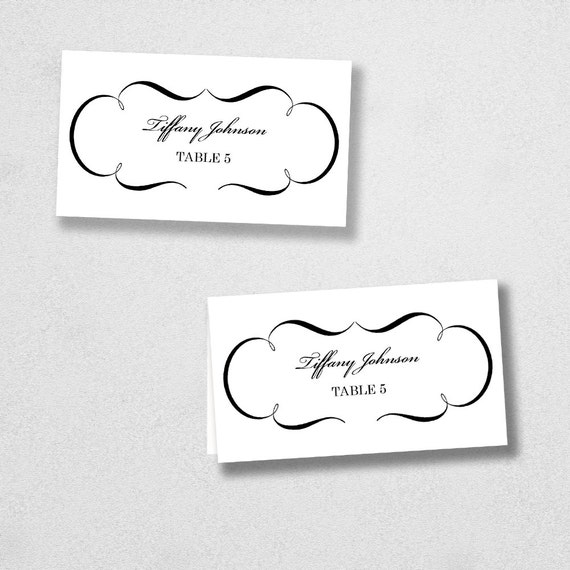 items similar to printable place card template instant download escort card for word and