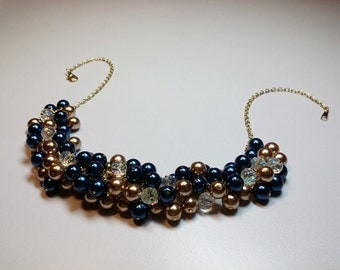 Blue and Gold Pearl and Crystal Cluster Necklace, Christmas Mothers Day Gift, Wedding Bridesmaid Mom Sister Grandmother Jewelry Gift, Classy