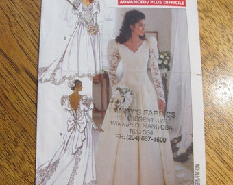 1980's COUTURE Traditional Princess Wedding Gown with Dropped Waist - CHOOSE Your Size - UNCUT Sewing Pattern Butterick 4501