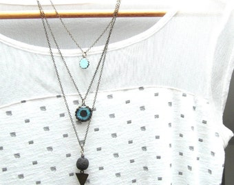 3 Layered necklace set , Bohemian lava necklace , Turquoise layering necklace