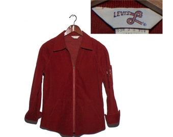 Small | Men 1970's Levi's Corduroy Jacket Zip Shirt in Rust Color