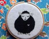 embroidery kit // Benny the black sheep - hand embroidery kit