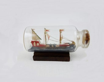 Vintage Sailing Ship in a Bottle Small Size
