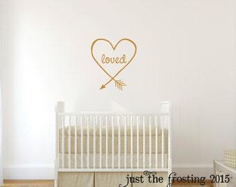 Gold Heart Arrow Decal - Arrow Decor - Love Arrow Wall Decal - Loved Arrow Wall Art