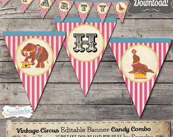 Vintage Circus Party Banner - INSTANT DOWNLOAD - Editable & Printable Birthday Decoration by Sassaby
