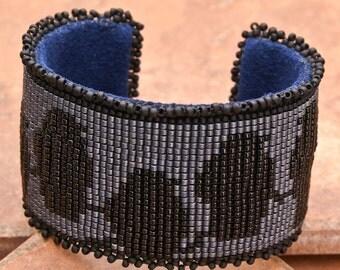 CUFF Bracelet Macabre Bracelet Loom Bracelet Raven Bracelet Gift for Her Valentine's Gift Bracelet Mother Day Gift Hand Made